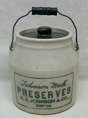 """Antique Stoneware """"Johnson Made Preserves"""" Crock Jar 6"""" Tall with Handle and Lid"""