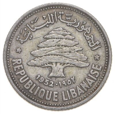 SILVER Roughly Size of Quarter 1952 Lebanon 50 Piastres World Silver Coin *919