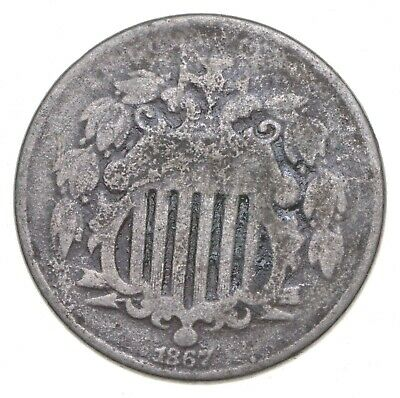 First US Nickel - 1867 - Shield Nickel - US Type Coin - Over 100 Years Old! *974