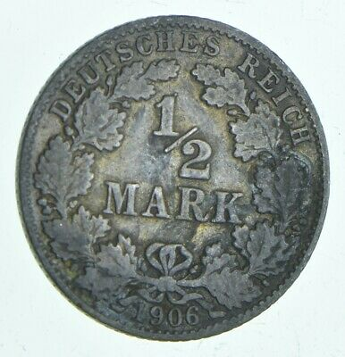SILVER - Roughly Size of Dime - 1906 Germany 1/2 Mark - World Silver Coin *731