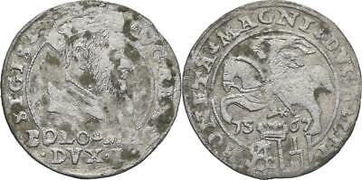 R6 Lithuania: Extremely RARE Silver Coin grossus,groschen Vilnius 1567 tail down