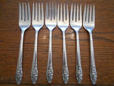 6 Community 1950 EVENING STAR Pattern Salad / Dessert Forks Oneida