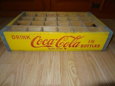 Vintage Coca-Cola Wooden Coke Bottle Yellow Crate **Box #4**