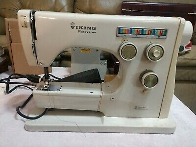 (#23) Vintage Working Viking Husqvarna Sewing Machine Model 6020 Made In Sweden