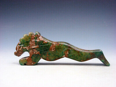 Old Nephrite Jade Stone Carved Sculpture Ancient Monster Wolf Running #03262012
