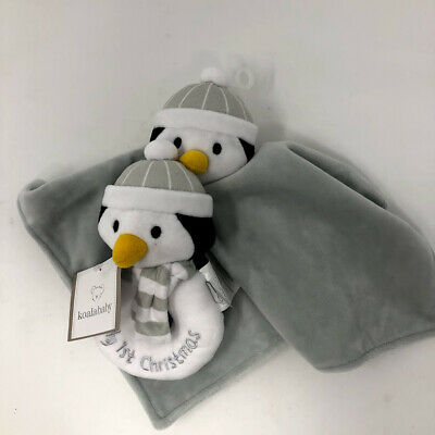 Koala Baby Gray Penguin First Christmas Lovey Blanket Plush Rattle Set NEW