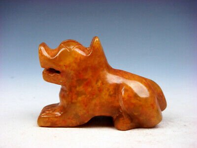 Old Nephrite Jade Stone Carved Sculpture Seated FOO DOG LION #07201909