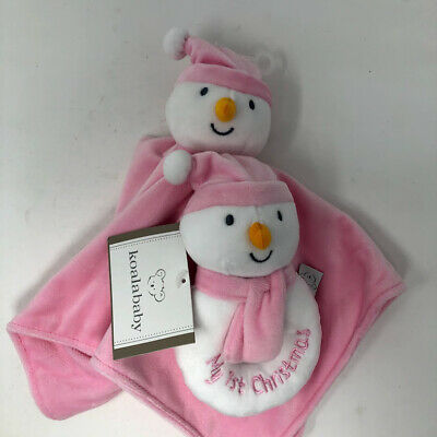 Koala Baby Pink Snowman First Christmas Lovey Blanket Plush Rattle Set NEW