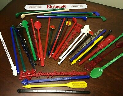 Lot of 25+ Vintage Bar Stir Sticks w/ Advertisements mostly from 50's to 70's