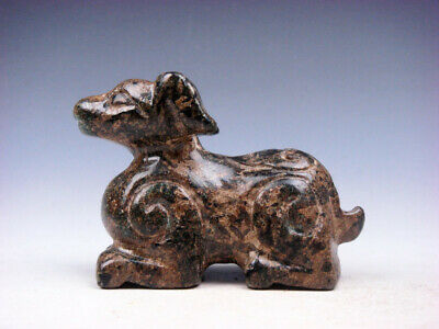 Old Nephrite Jade Stone Carved Seated Ancient Monster Deer #03262010