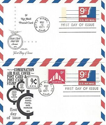 Pair Of Air Mail Fdc's - 9 Cent Postal Card & 9 Cent Post Card & Stamp Combo