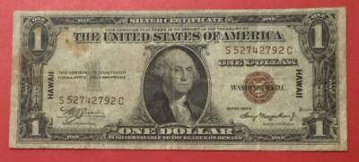 """1935A $1 Brown Seal """"HAWAII"""" Emergency WWII SILVER X2792! Old US Paper Currency!"""