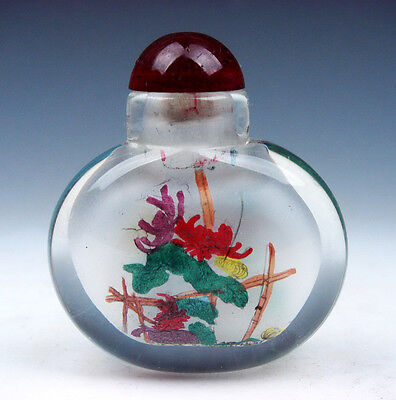 Peking Glass Inside Chrysanthemum Reverse Hand Painted Snuff Bottle #08291506