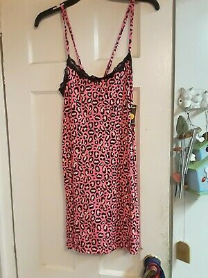 NEW JOE BOXER PINK BLACK  LACE NIGHTGOWN size L LARGE JUNIOR WOMEN PJ NWT $32