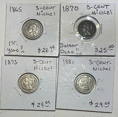 Lot of 4 Three Cent Nickels 1865, 1870, 1873, 1881