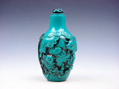 Turquoise Glazed Carp Fishes & Lotus Themes Carved Snuff Bottle #03272001