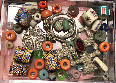 Lot of Antique African Trade Beads & Middle Eastern Jewelry Components