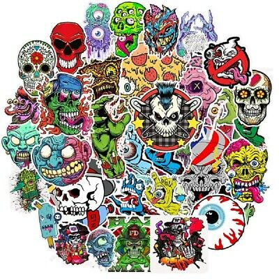 50Pcs Horror Skull Stickers Vinyl Decals for Water Bottle Laptop Luggage Bicycle