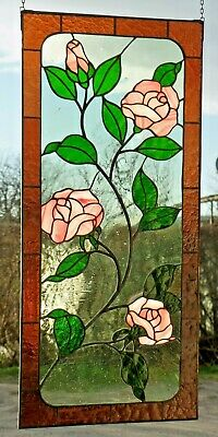 Stained Glass Leaded Window Mural Rose Tendrils With Real Antique IN Tiffany