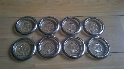 Set x 8 Glass & Silver Plated wine coasters