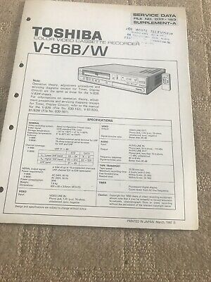 Toshiba V-868 service manual Supplement  For VCR