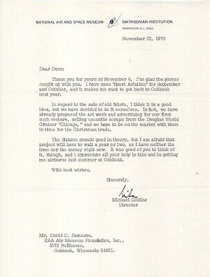 """Michael Collins - Apollo 11, LS on Smithsonian's sale of fabric from """"Chicago"""""""