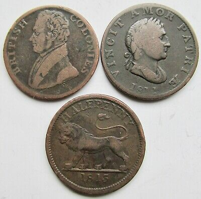 Canada 3 Tokens VINCIT Bust, Walking Lion and British Colonies Half Pennies