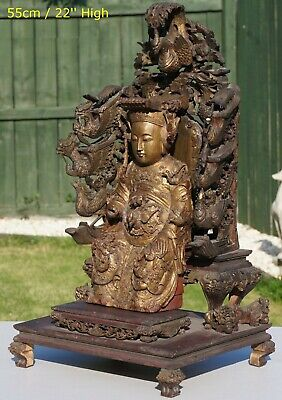 SUPERB LARG Antique Chinese Gilt Wood Figure & Phoenix Buddhist Lion Throne QING