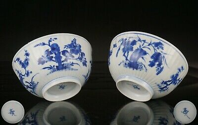 Pair Chinese Blue and White Shipwreck Porcelain MOULDED Bowls KANGXI c1661-1722