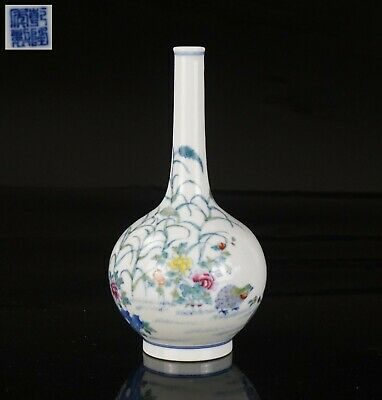 Chinese Blue and White Polychrome Enamelled Doucai Bottle Vase Marked