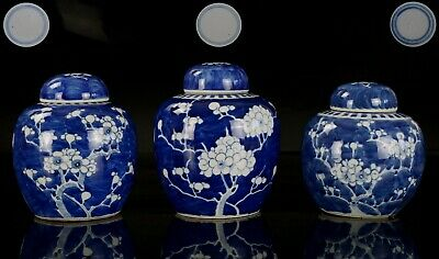 3x  Antique Chinese Blue and White Porcelain Prunes Blossom Vase & Lid 19th C