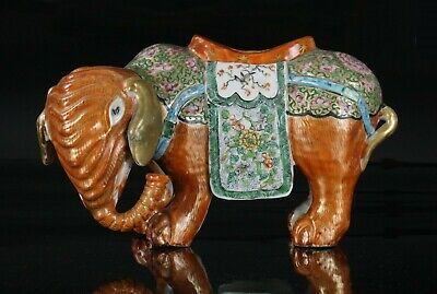 LARGE Antique Chinese Famille Rose Porcelain Gilded Figure Elephant c1840 QING