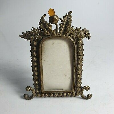 Beautiful Victorian Brass and Amber Glass Thistle Design  Frame