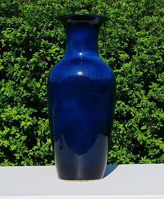 V-LARGE 55cm / 22'' Chinese Monochrome Dark Blue Glazed Porcelain Vase