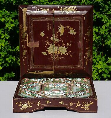 SET Famille Verte Porcelain Sweet Meat Chinese Cabbage Dish & Gilt Lacquer Box