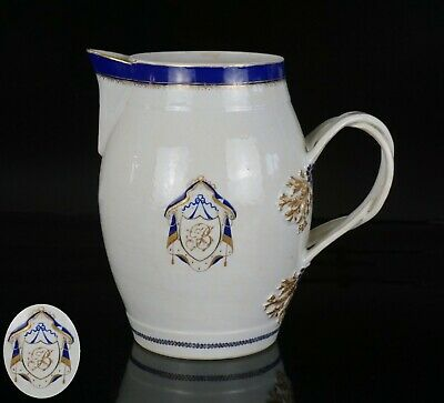 FINE LARGE Chinese Famille Rose Porcelain Armorial JUG 18th C Excellent Con <>1