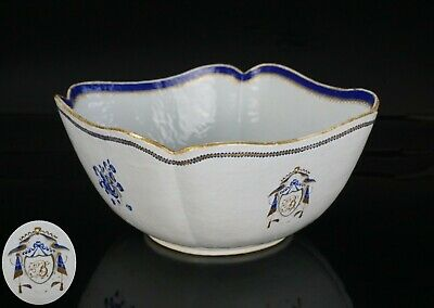 FINE LARGE Chinese Famille Rose Porcelain Monogrammed Armorial Bowl 18th C QING
