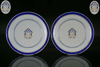 FINE PAIR Chinese Famille Rose Porcelain Monogrammed Armorial Plate 18th C QING
