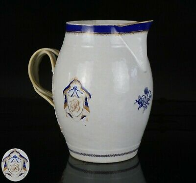 FINE LARGE Chinese Famille Rose Porcelain Monogrammed Armorial JUG 18th C <>2