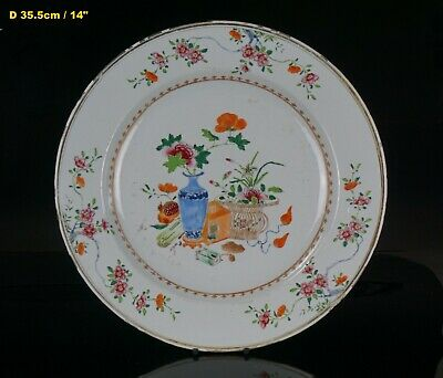 HUGE Antique Chinese Famille Rose Porcelain Charger YONZHENG / QIANLONG 18th C