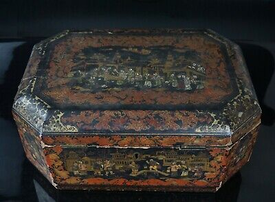 LARGE Antique Chinese Twin handled Lacquered Wooden Box