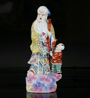 Antique Chinese Famille Rose Porcelain Figurine Group SHOUXING Immortal SIGNED