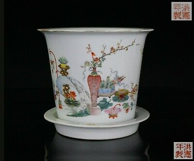 Set FINE Antique Chinese Famille Rose Porcelain Plant Pot & Tray HONGXIAN 20th C