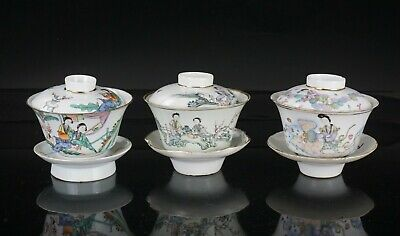 Group Antique Chinese Famille Rese Porcelain Cup Holder Lid Early 20thC Republic