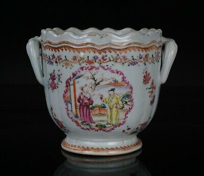 Antique Chinese Famille Rose Porcelain Lobed Ice Bucket Jardiniere 18th C QING