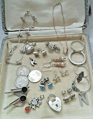 Mixed lot solid sterling silver jewellery/ thin chain 9k gold bracelet scrap/use