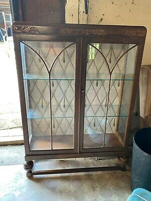 Vintage Antique Large Display Cabinet Glass Shelves & Key