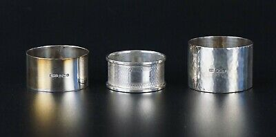 Three Antique English Solid Silver Sterling Silver Napkin Rings Hallmarked