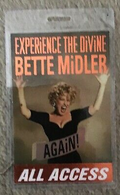 Bette Midler Experience The Devine Again Tour Access All Areas Laminate Pass