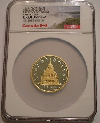 2016 Silver & Gold Gilt $1 LIBRARY OF PARLIAMENT Canada NGC PF 70 ULTRA CAMEO